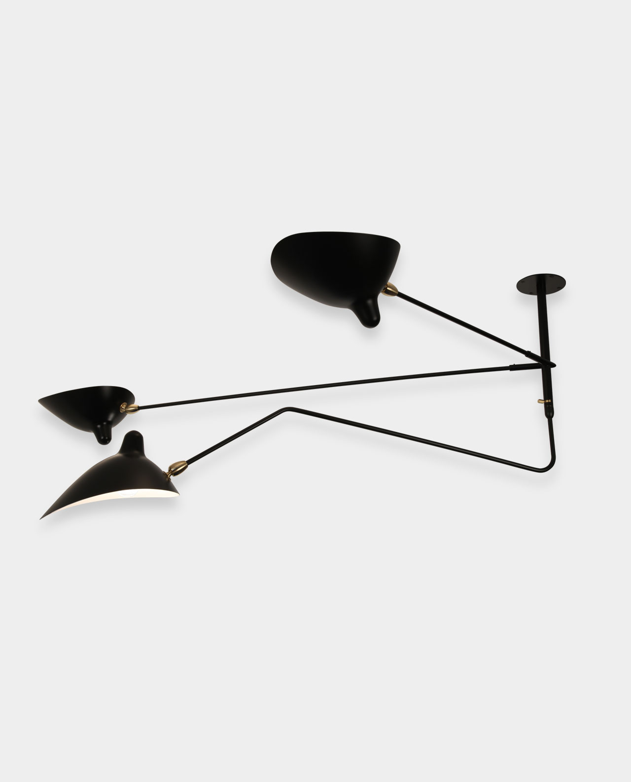 Ceiling lamp 2 fixed arms 1 rotating curved arm - Luminaire serge mouille ...